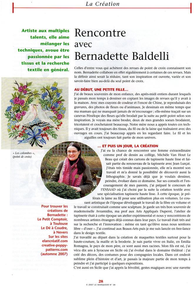 """Le Marquoir n°58 - Article """"Rencontre avec Bernadette Baldelli"""""""