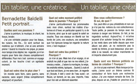 Article Bernadette Baldelli Point de Croix Magazine n°62 p.2