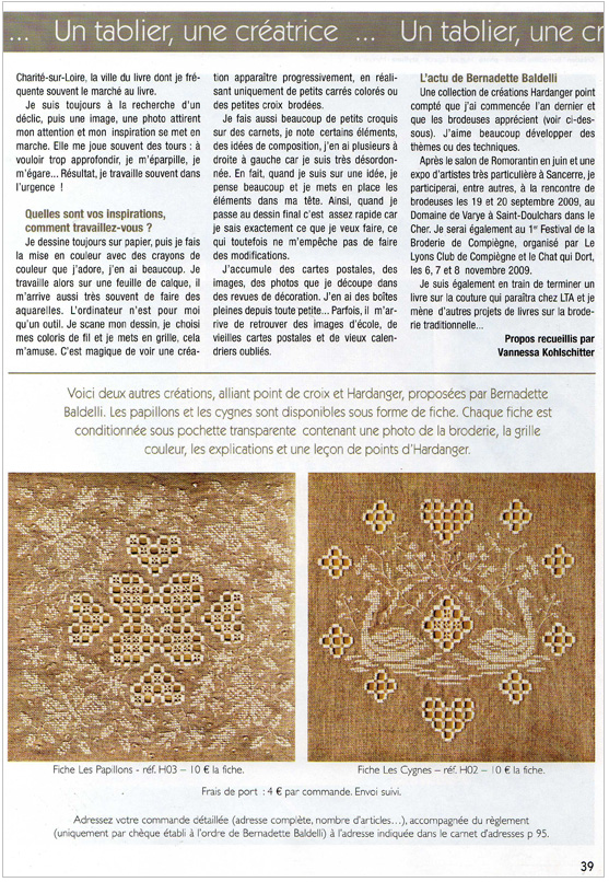 Article Bernadette Baldelli Point de Croix Magazine n°62 p.3