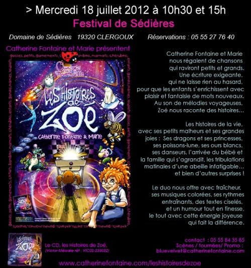 18 juillet / LES HISTOIRES DE ZOÉ AU FESTIVAL DE SÉDIÈRES, Corrèze
