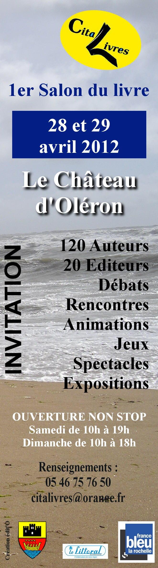 Marque page Cita'Livres du château d'Oléron