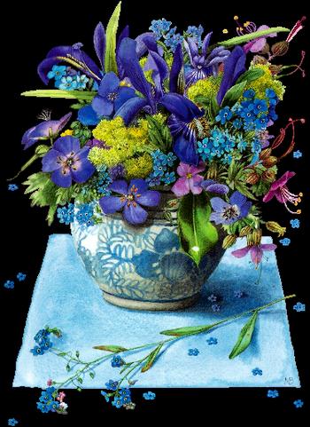 bleu belles fleurs