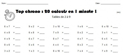 Tables de multiplication math matiques forums - Exercice de table de multiplication a imprimer ...
