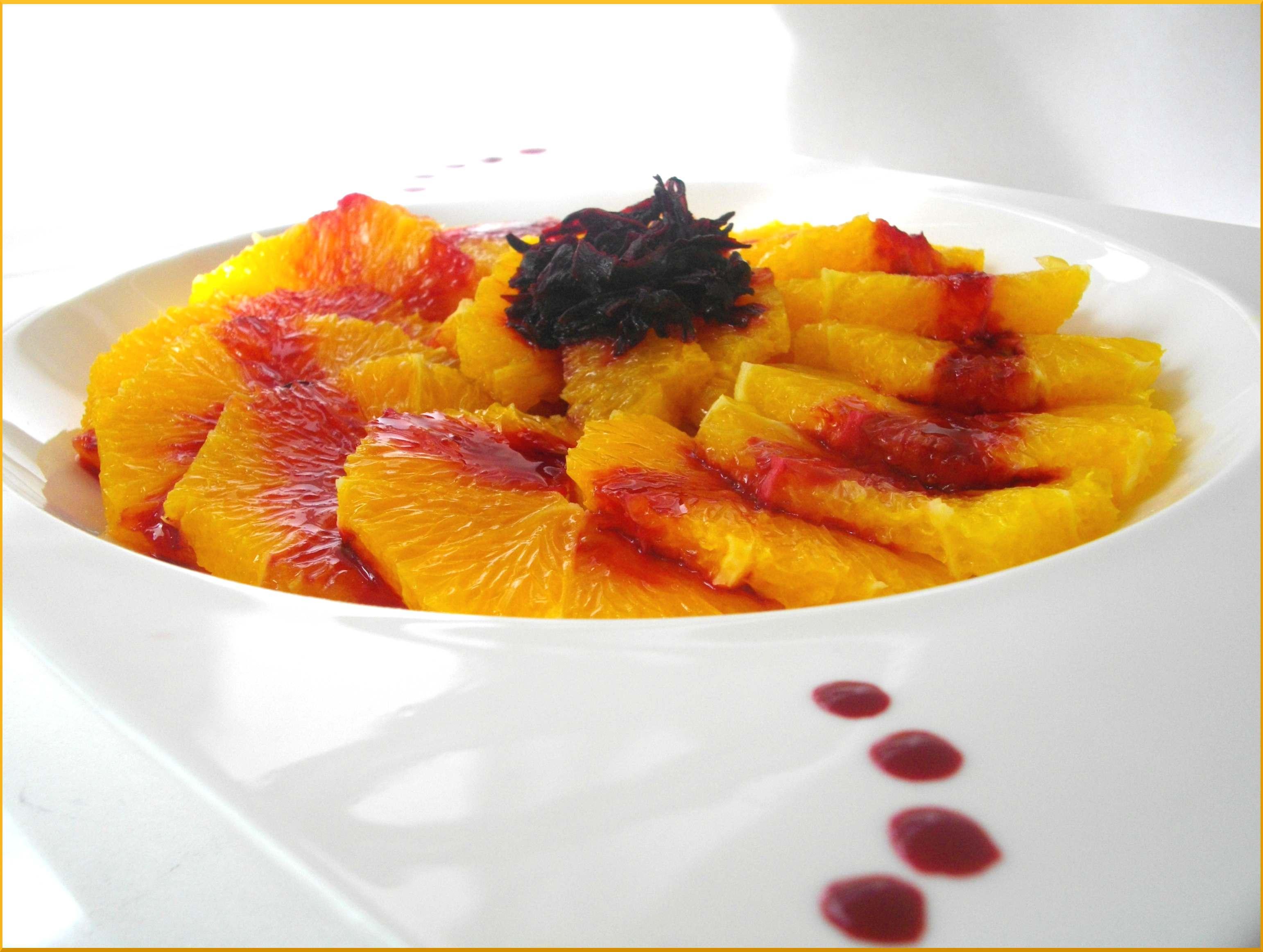 ♥ Carpaccio de Navels au Sirop d'Hibiscus ♥... Les fleurs et les fruits se rencontrent aussi !