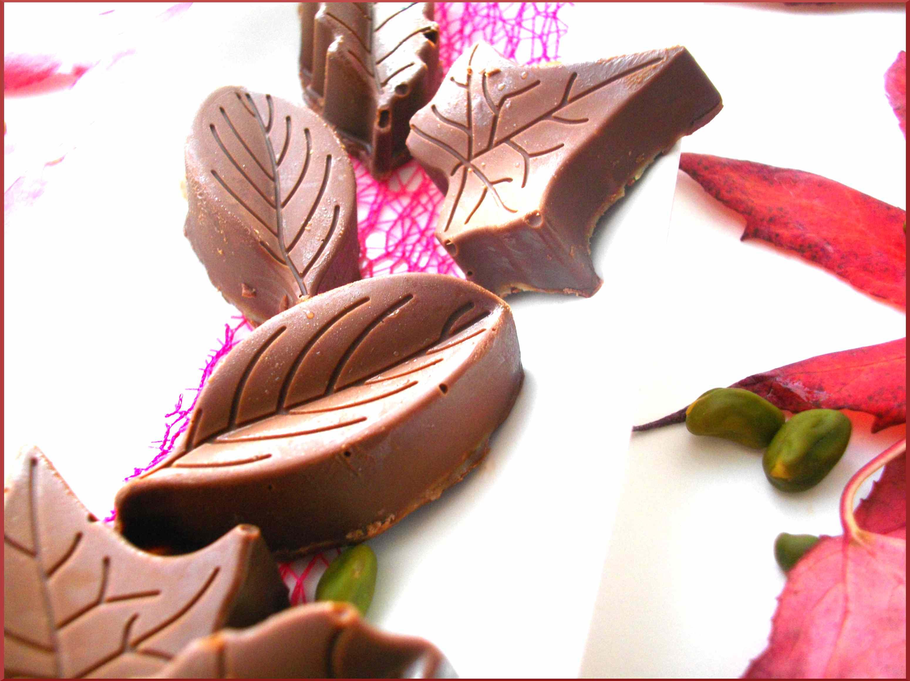 Feuilles d'automne chocolatées à la Pistache...