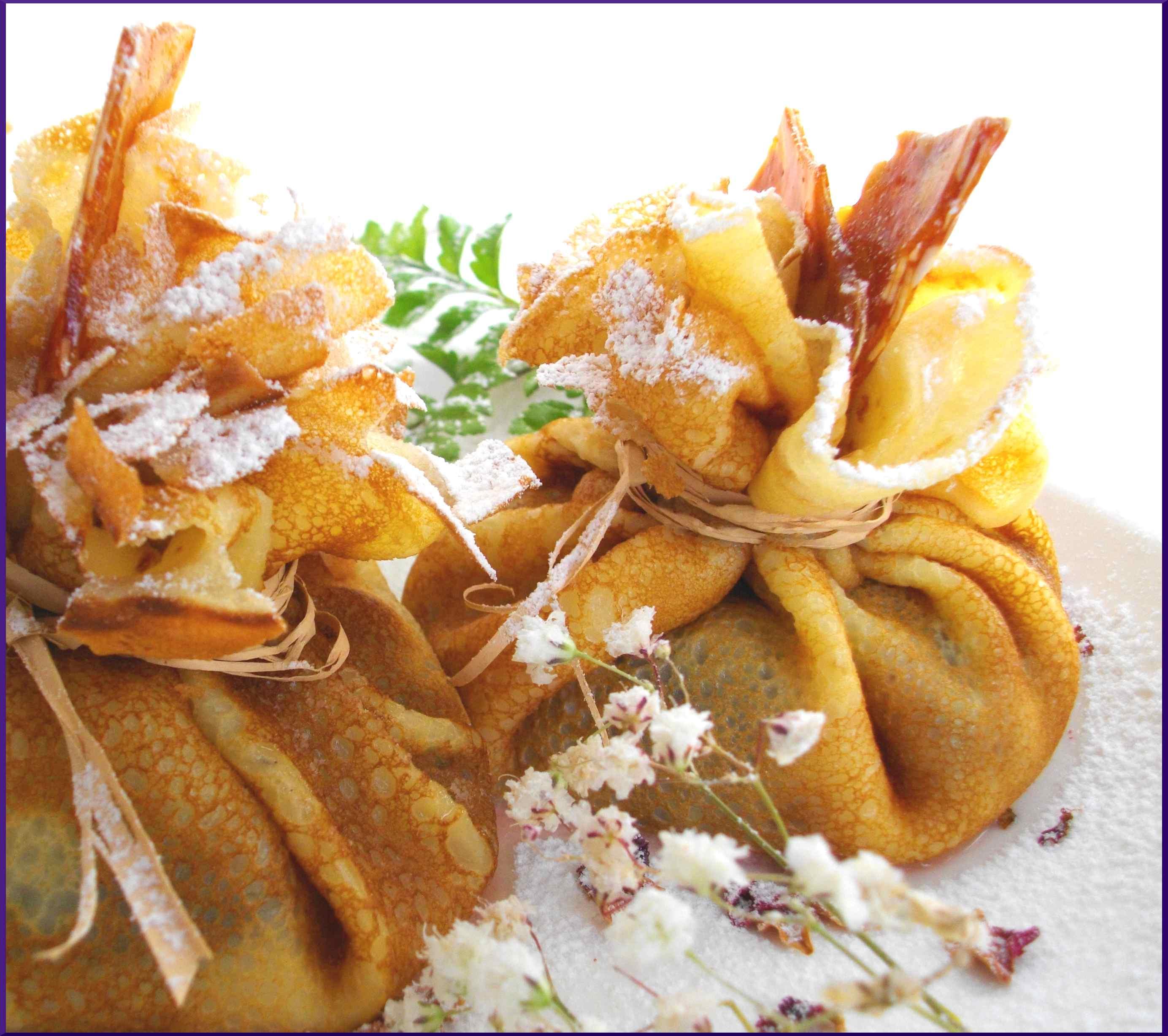 Pochons de figues rôties, Sauce blanche au Chocolat et Croquants de Nougatine...