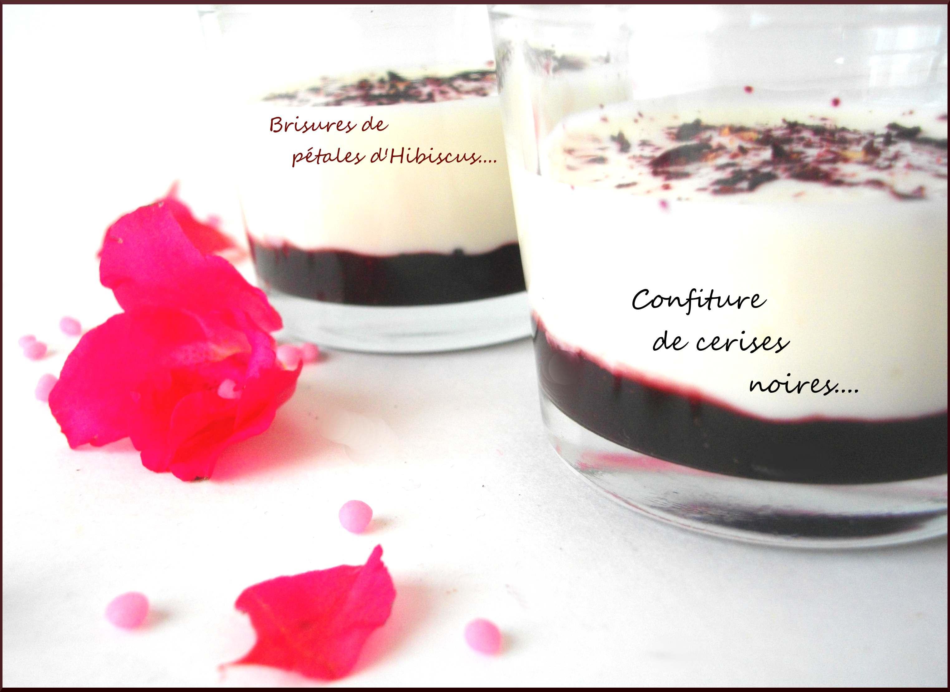 Veloutés de Brebis à la confiture de cerises noires et Brisures de pétales séchées d'Hibiscus