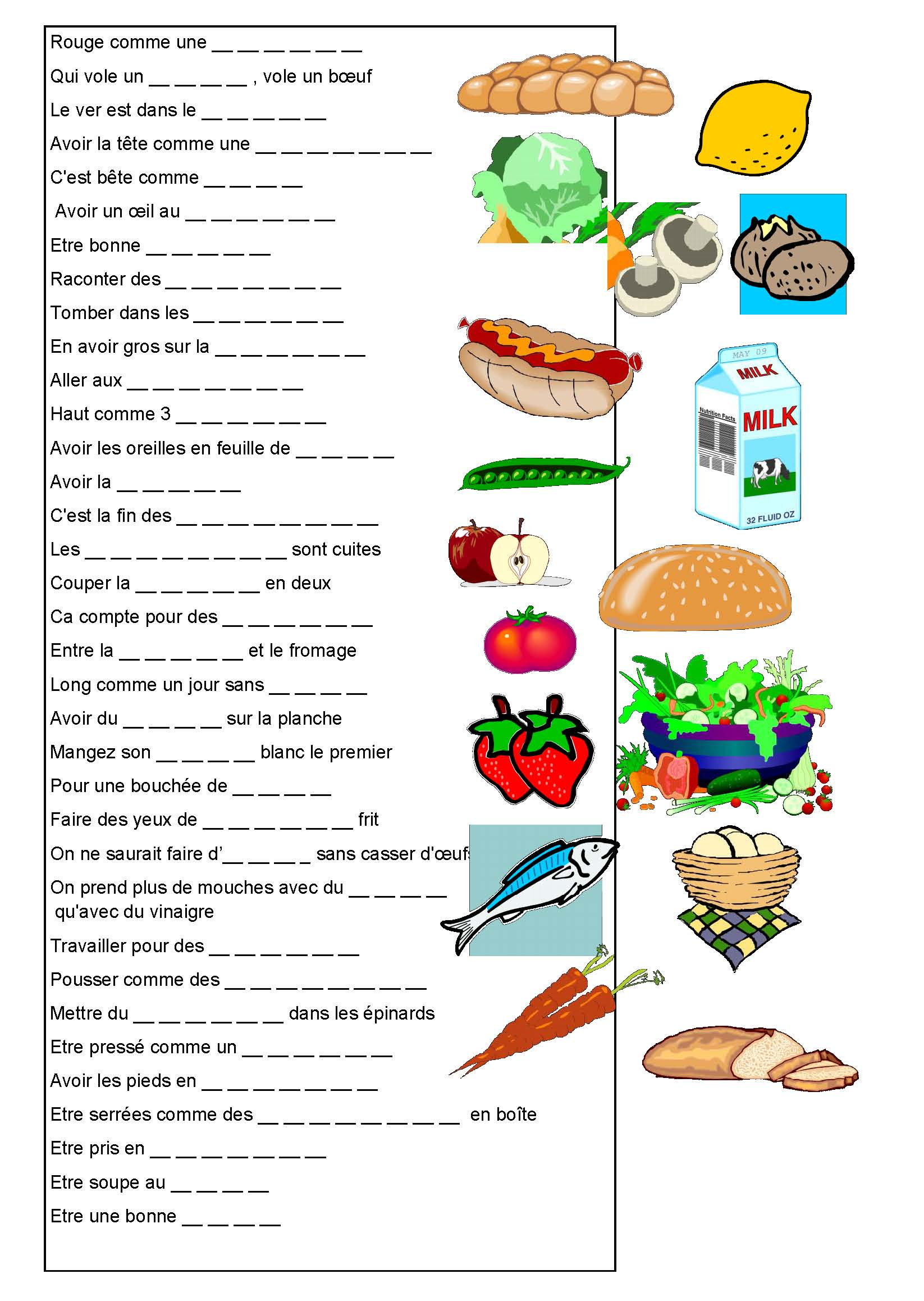 Les expressions avec les fruits, les légumes, les aliments...