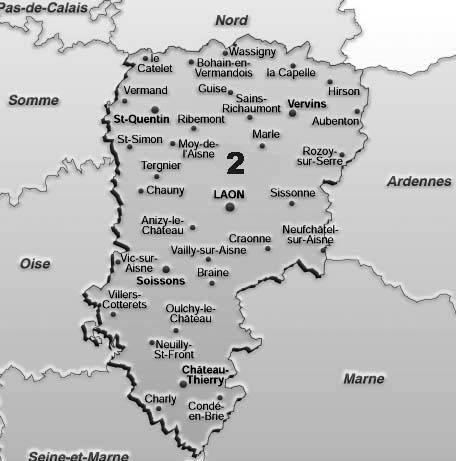 carte du departement 02