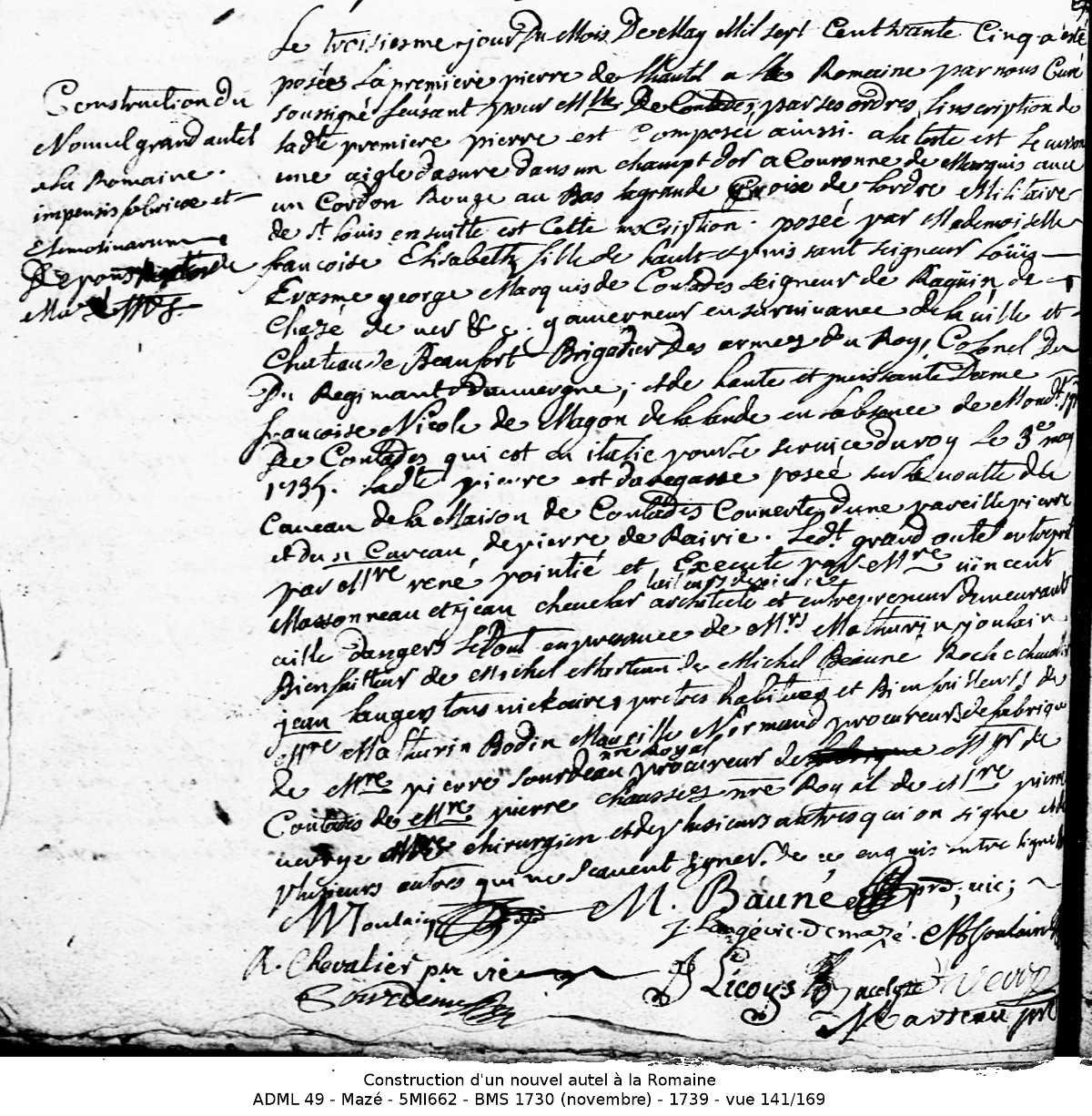 acte BMS consécration nouvel autel 1735