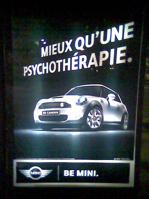 publicité voiture mini mieux qu'une psychothérapie 2009