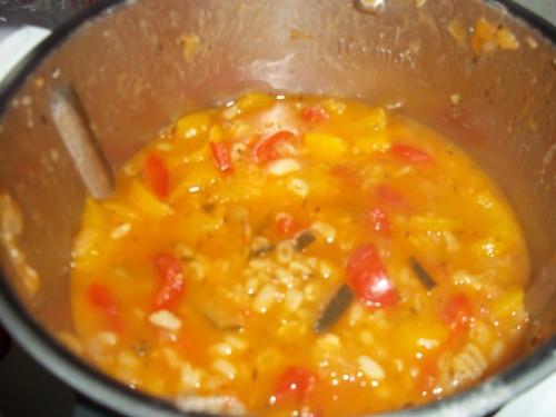 Eblysotto, courgettes, poivron