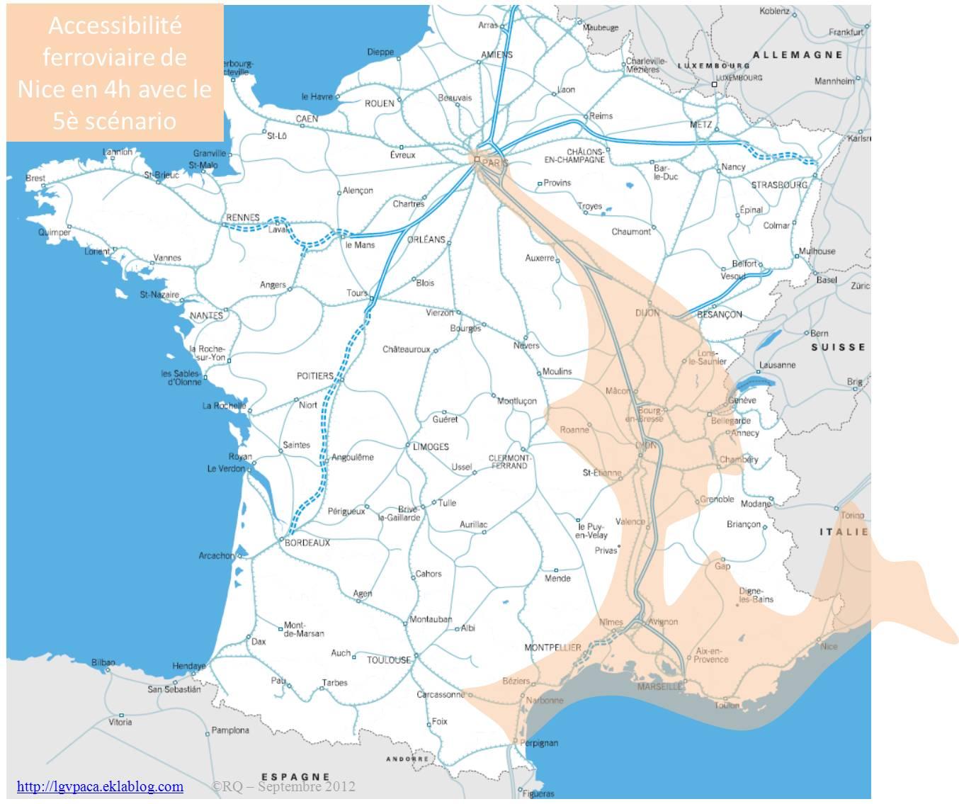 Accessibilité ferroviaire de Nice dans le 5ème scénario
