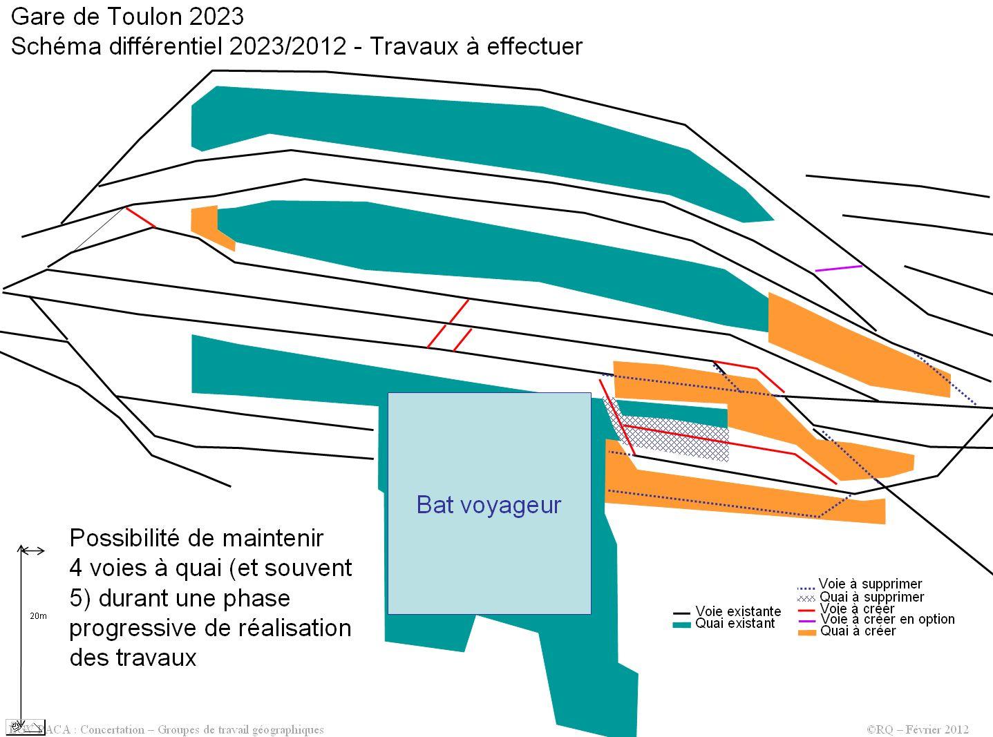 Gare de Toulon centre en surface dans le scénario hybride