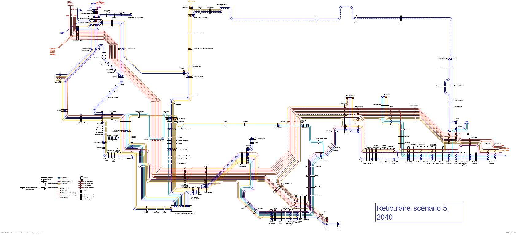 LGV : réticulaire de desserte envisageable pour le 5è scénario dans l'ensemble de la région