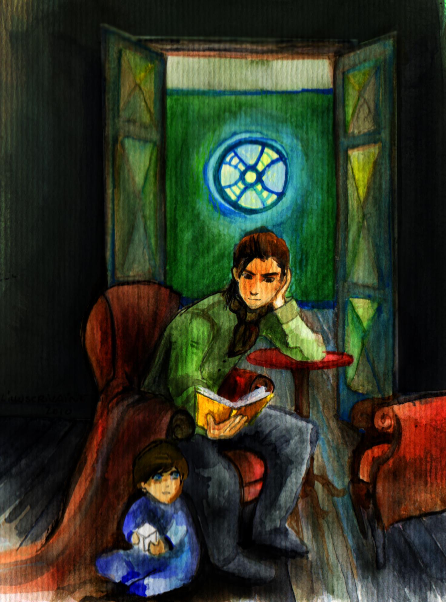 Cameri et Gabriel dans la bibliothèque