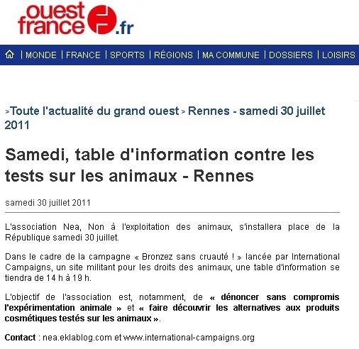 nea - Bronzer sans cruauté - Ouest France Rennes 30072011