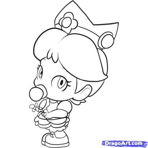 coloriage mario bros - Baby Princess Peach Coloring Pages