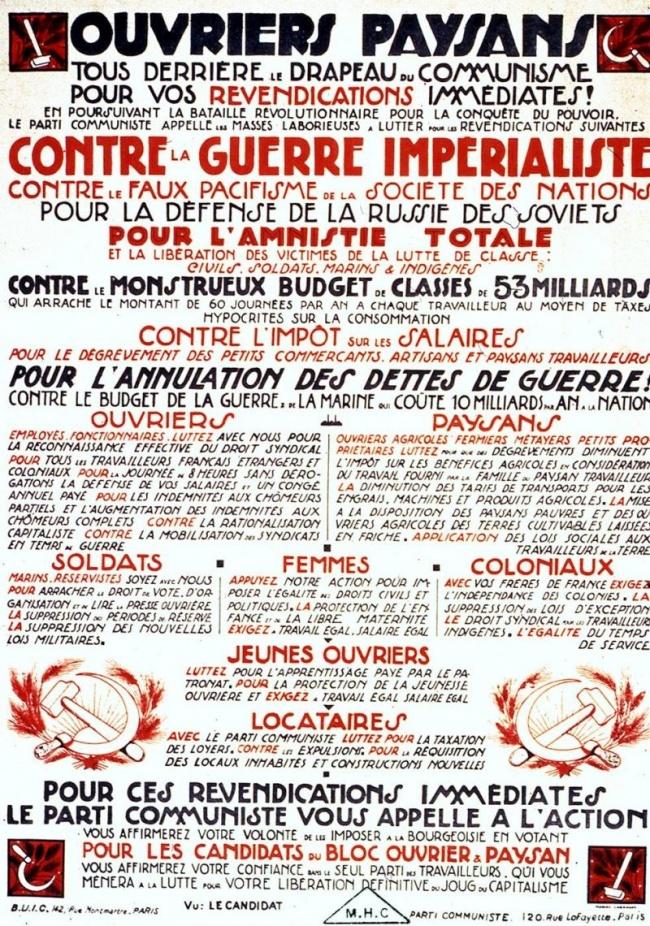 Le programme de la gauche française, dans les années 20