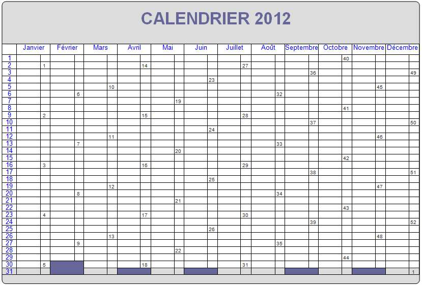 Calendrier 2013 Calendrier 2012