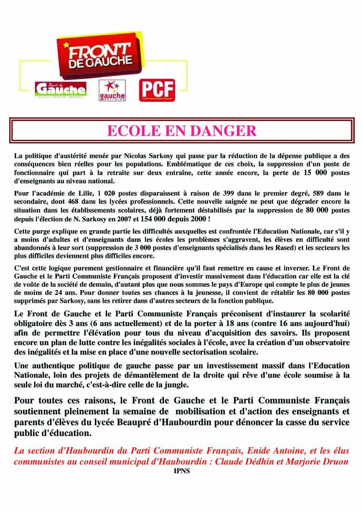 Lycée Beaupré : 18 postes supprimés. soutien des parents et des professeurs en lutte