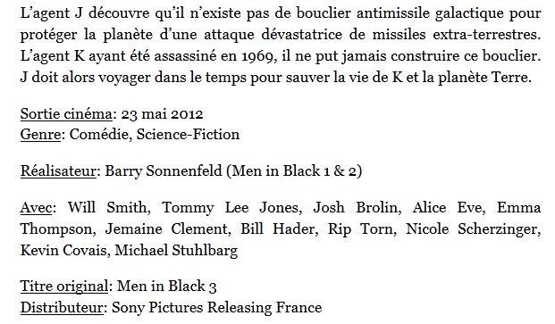 Men in Black résumé